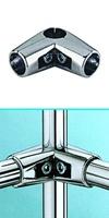Зажим угловой для труб  в 4-х направлениях  d=25мм, хром