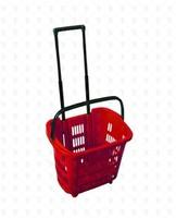Покупательская пластиковая корзина на колёсах, с выдвижной ручкой (34 л.) красная