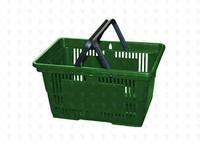 Покупательская пластиковая корзина  20 л, 2 ручки, зеленая
