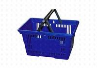 Покупательская пластиковая корзина  20 л, 2 ручки, синяя