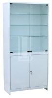 Шкаф 2-ух ств. стекло/металл ШМС-2-А в алюминиевой раме