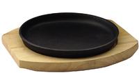 Сковорода круглая на деревянной подставке 220 мм