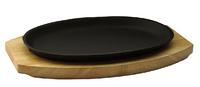 Сковорода овальная на деревянной подставке 270х180 мм
