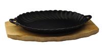 Сковорода овальная на деревянной подставке с ручками 270х190 мм