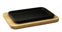Сковорода прямоугольная на деревянной подставке 260х170 мм