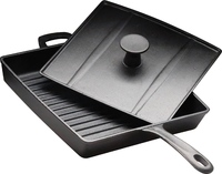 Сковорода чугунная рифленая 270х270 мм «Цыплята табака» с крышкой-прессом Luxstahl